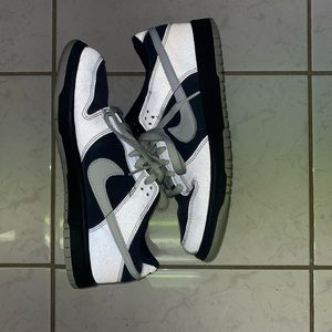 Navy blue and reflective grey Nike dunks sneakers